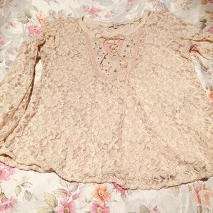Miss Me Crochet Top Sheer Bell Sleeves Cream Beige